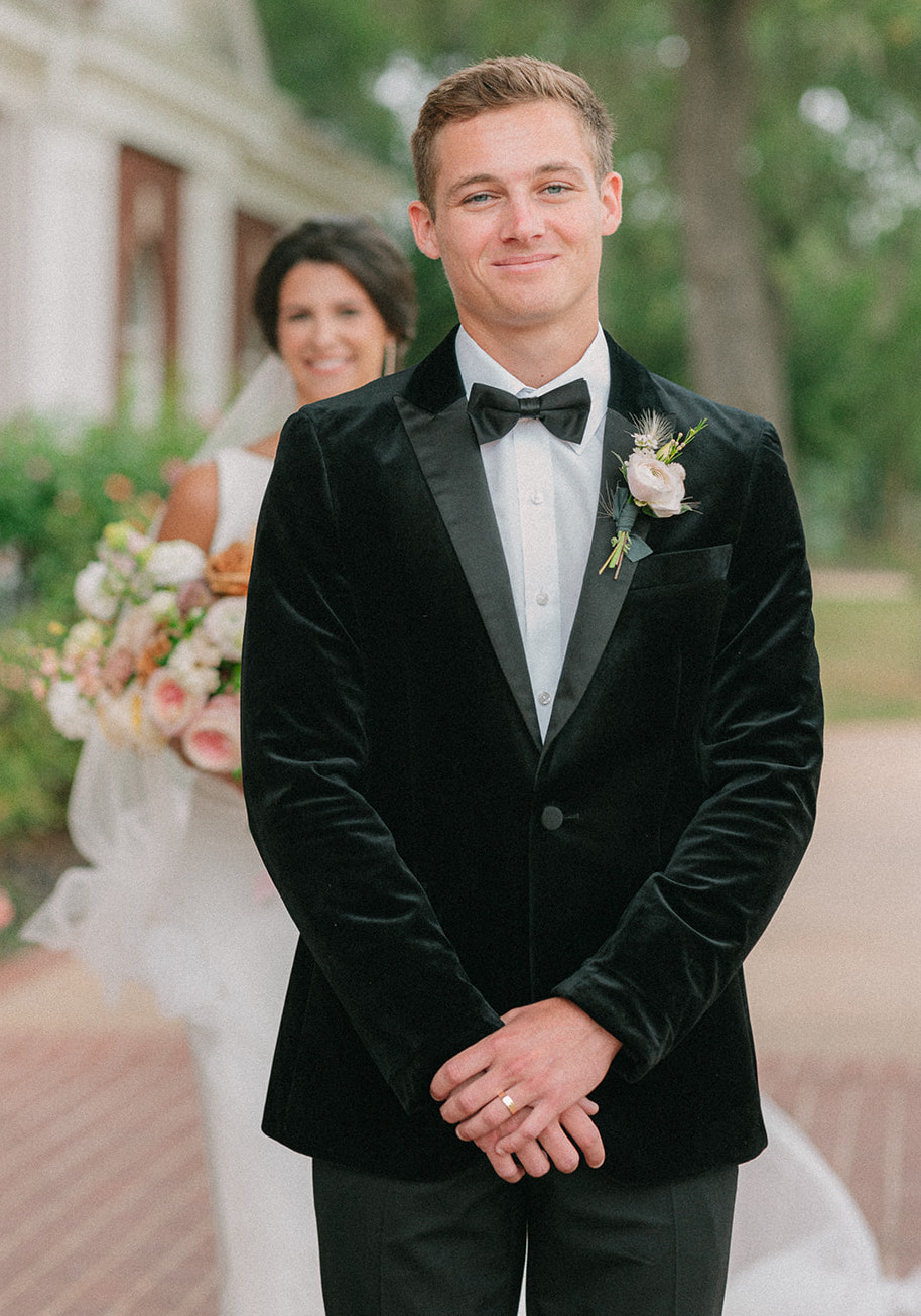 Styled shoot first look for bride and groom at The Mansion at ColoVista.