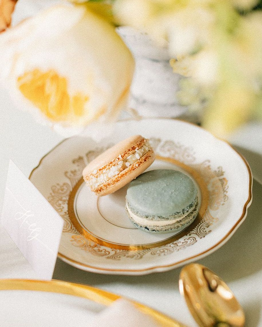 Peach and sage green macaroons made for the artfully curated southern styled shoot.