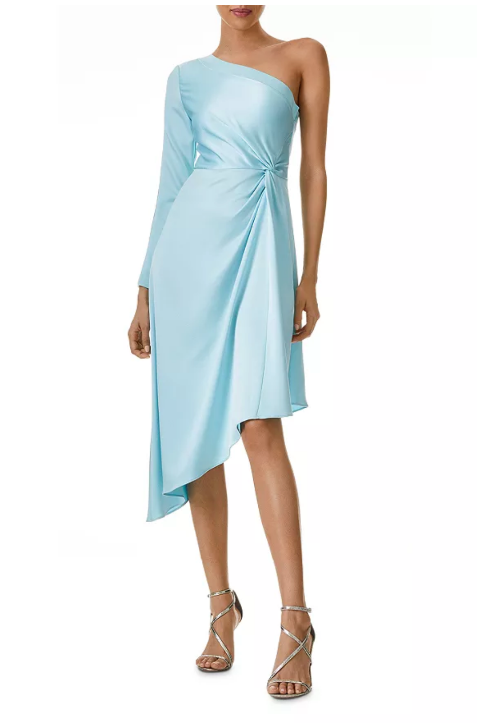Sky blue satin midi dress with one long sleeve for spring wedding guest