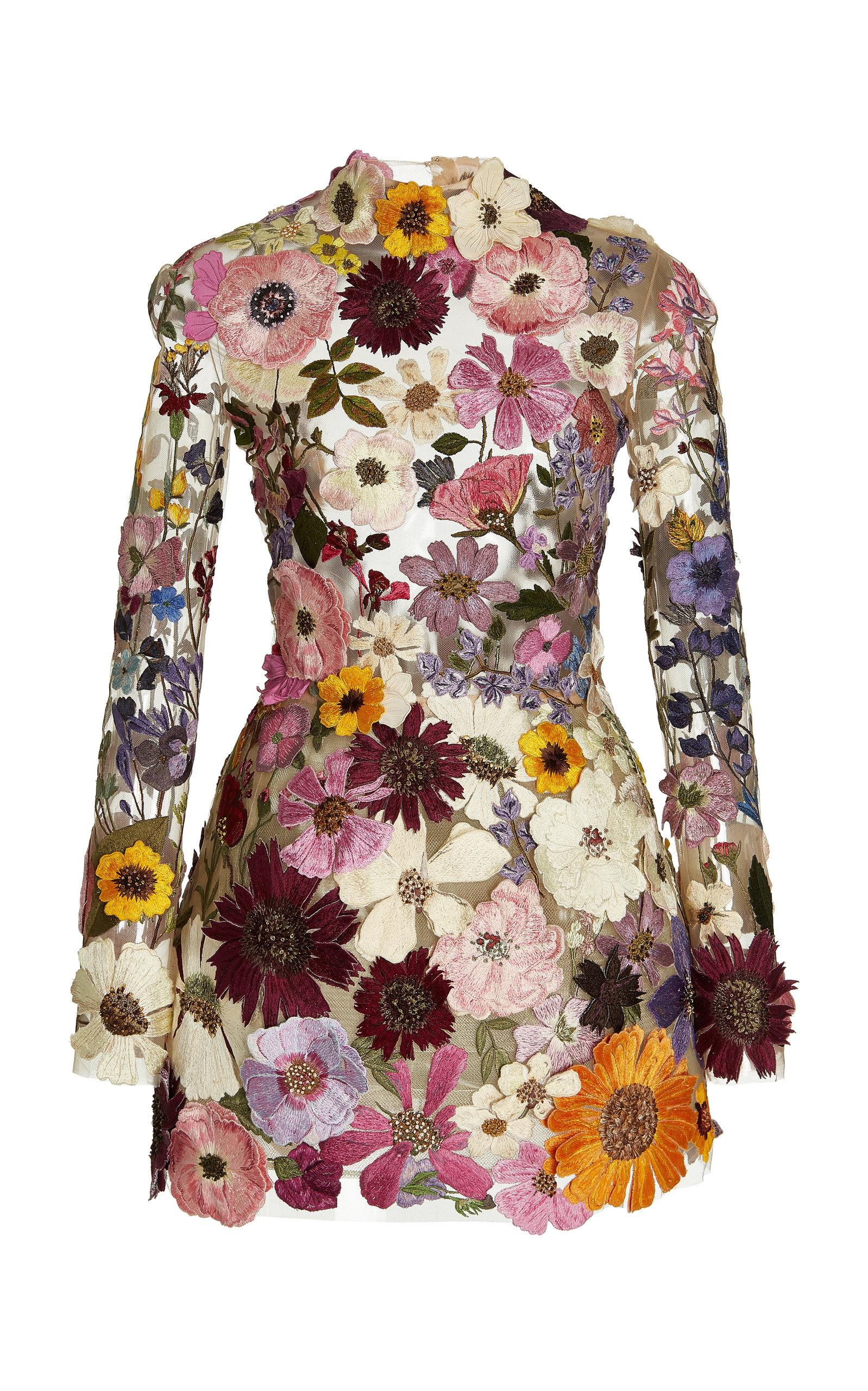 Detailed colorful flower embroidered mini dress for fall 2021 Oscar de la Renta styles.