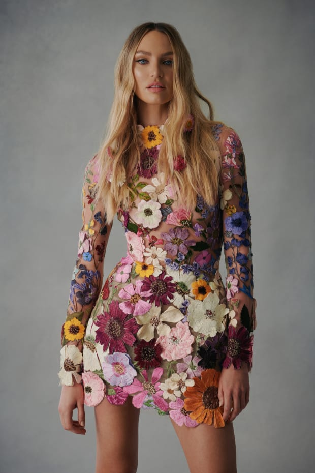 Colorful flower embroidered mini dress by Oscar de la Renta for wedding guests