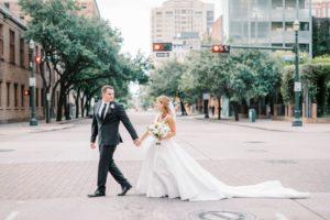 Classic Monochromatic Wedding Nestled in Downtown Houston