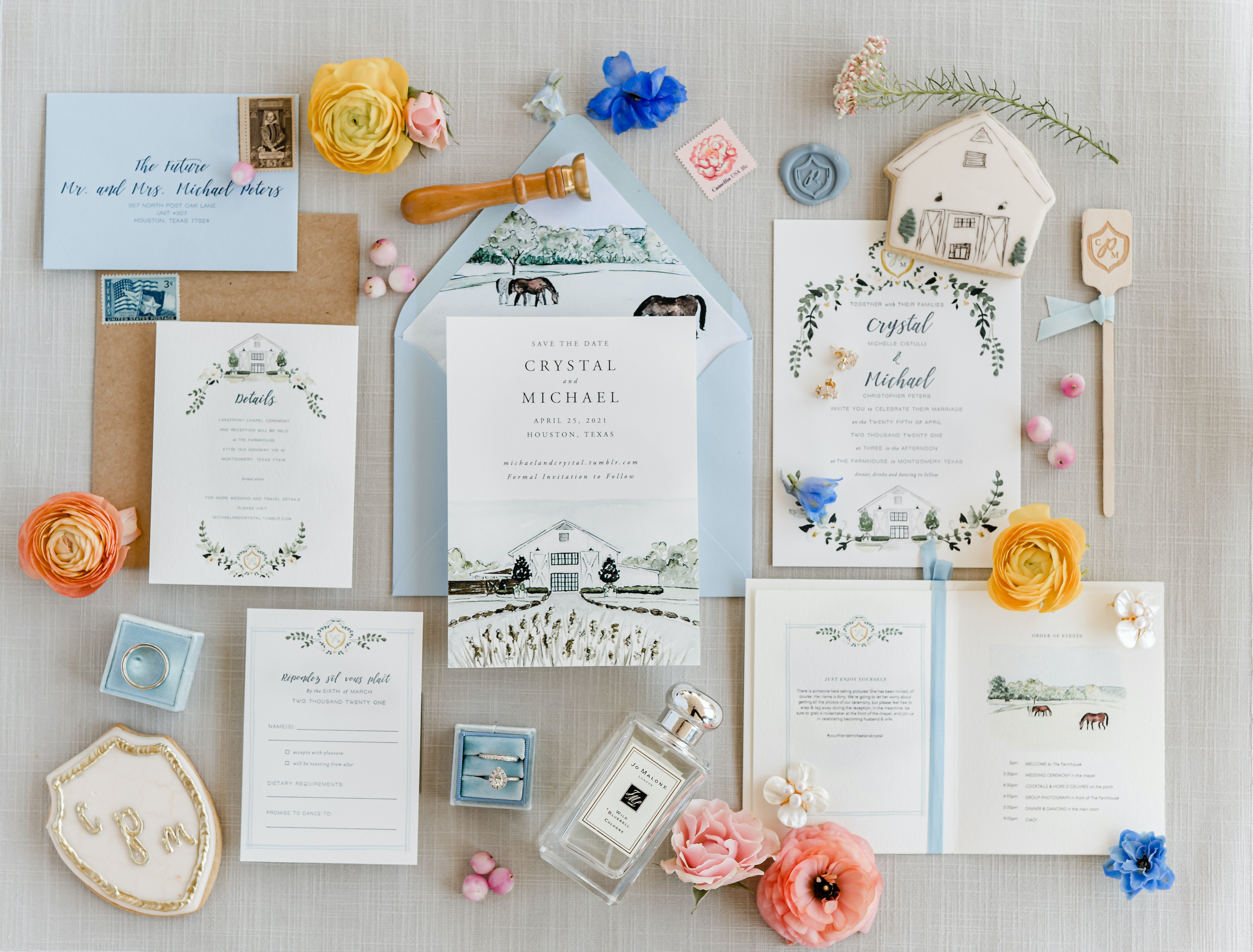 A very colorful flat lay for Crystal and Micheal's friendly wedding.