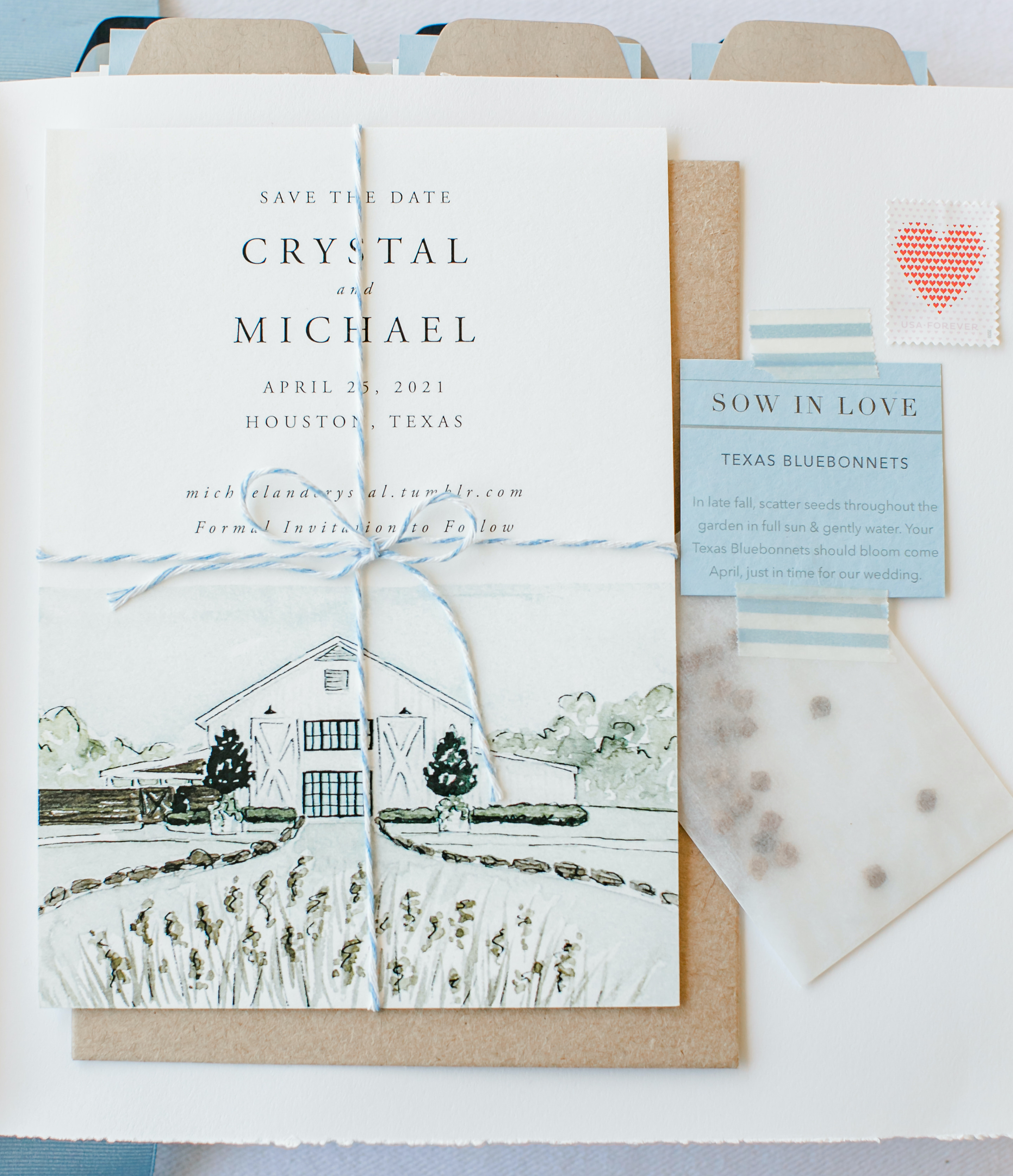 Crystal and Micheal's invitation to their friendly spring wedding.