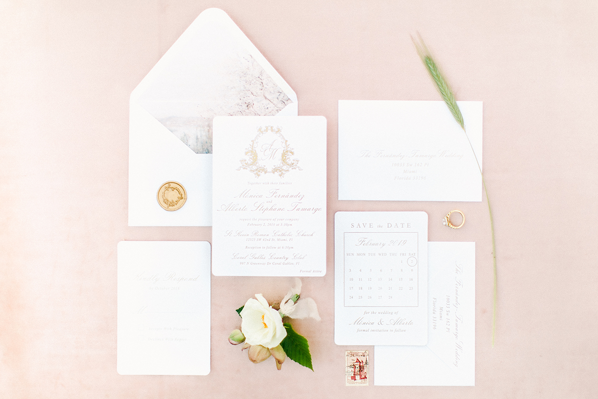 invitations, suite, flat lay