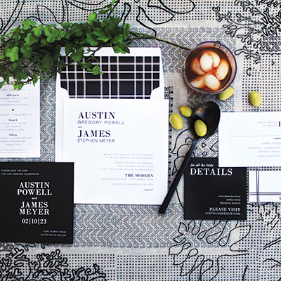 An invitation styled shoot featured in Weddings in Houston Magazine - Featuring letterpress, invitation suites, calligraphy, and registry items
