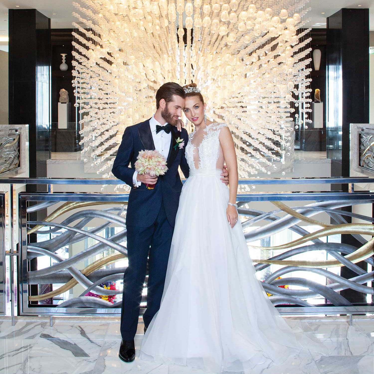 Modern upscale wedding at Houston's 5 Star Hotel wedding venue - The Post Oak Hotel at Uptown Park - featuring The Events Co.