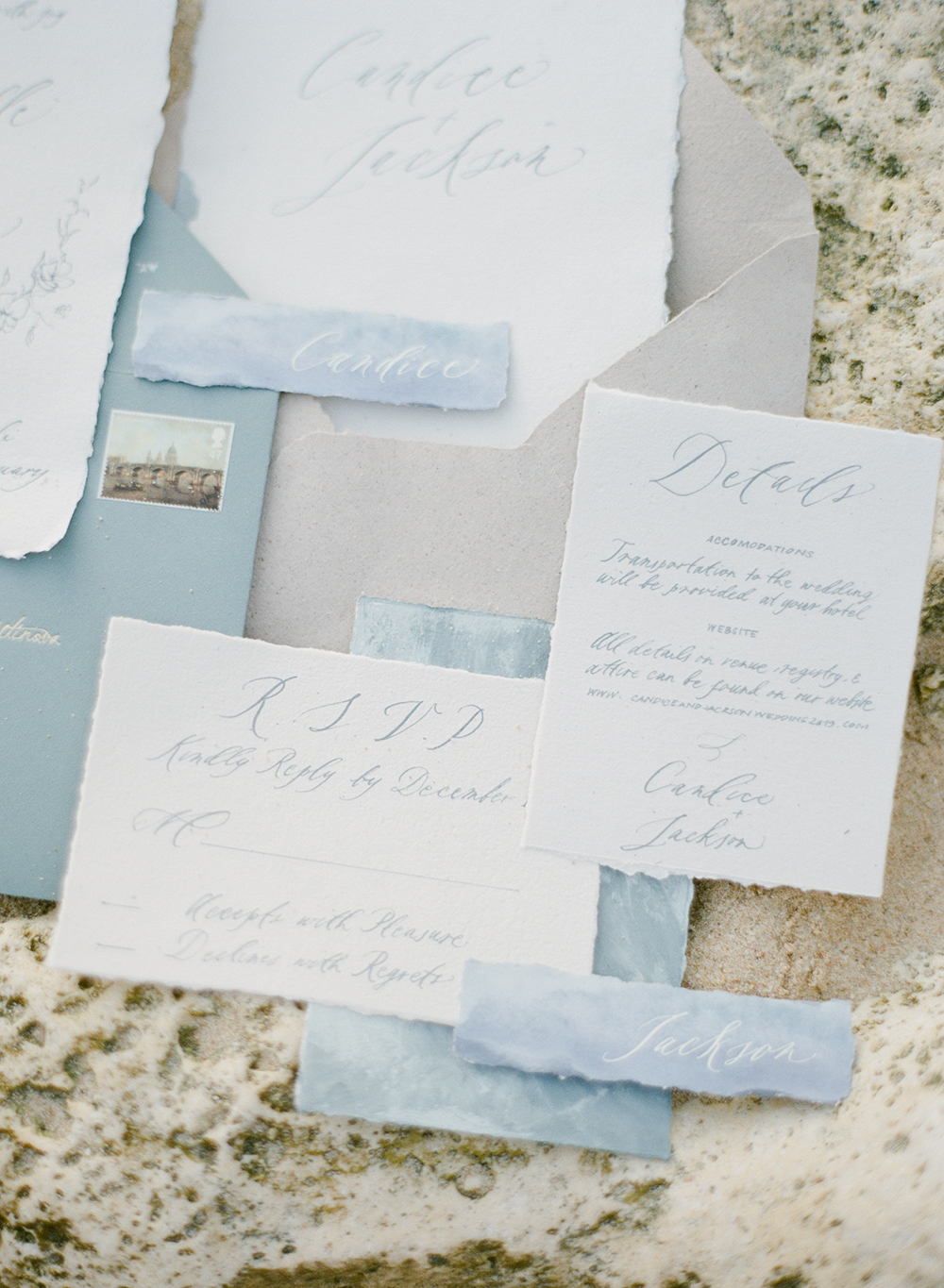 blue and white invitations, stationery, flatlay