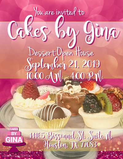 Cakes, gina, dessert, tasting, samples, open house, baker, couture, houston, event