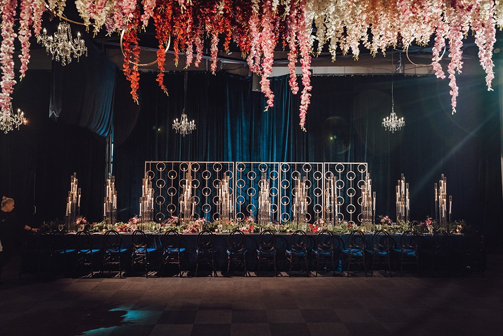 wedding reception decor - cascading flowers