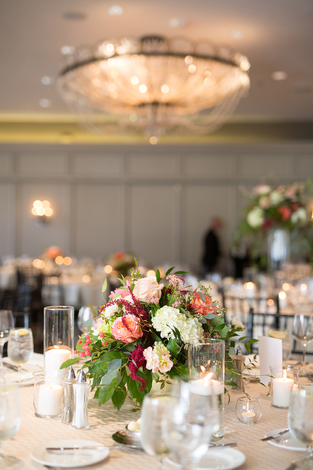 Neutrals, Pink, Coral, Burgundy reception centerpieces and decor - flowers