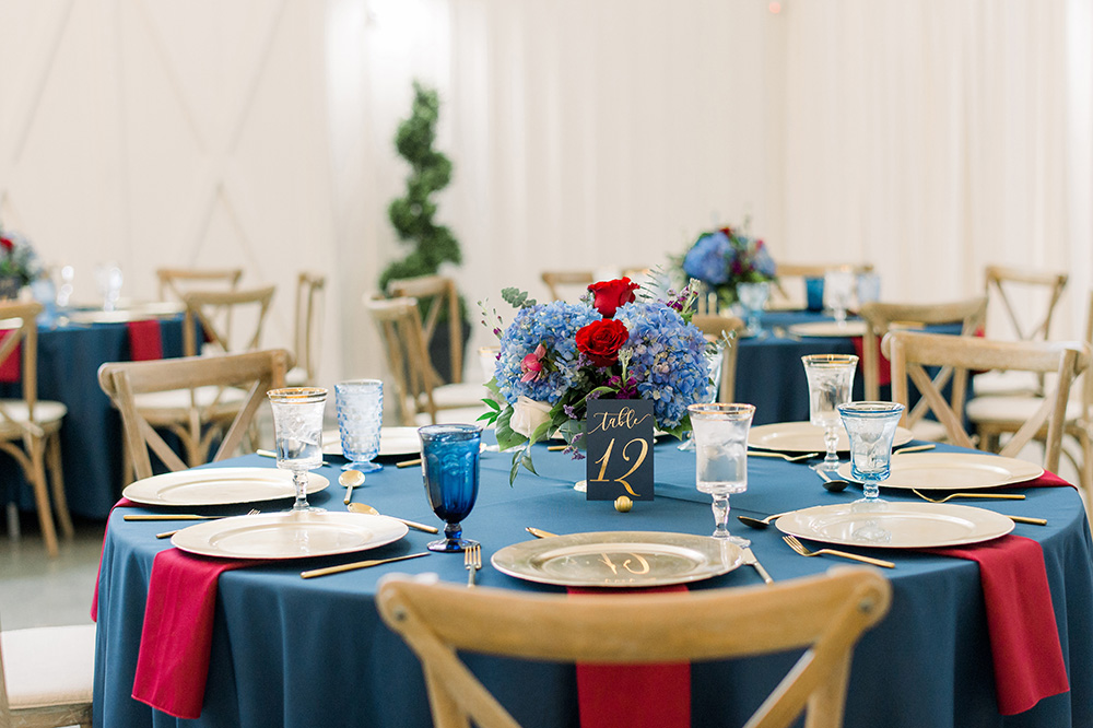 farmhouse, barn, rustic, blue, red, white, reverent, wedding, videography, films, flowers, swift