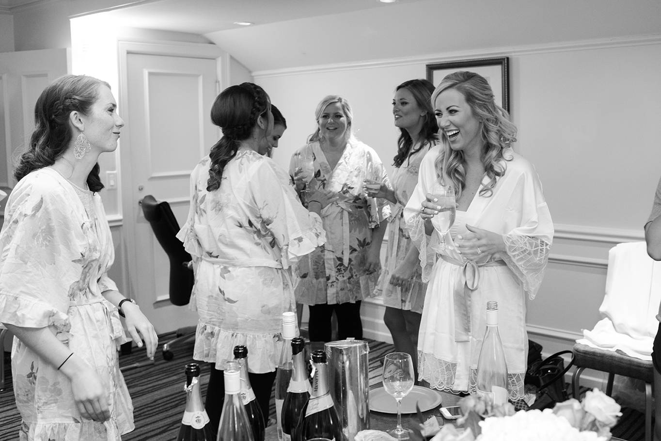 hotel wedding, getting ready, bridesmaids, bride