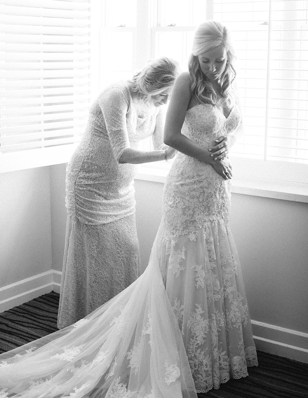hotel wedding, getting ready, wedding gown, bride, lace gown, houston bridal gallery