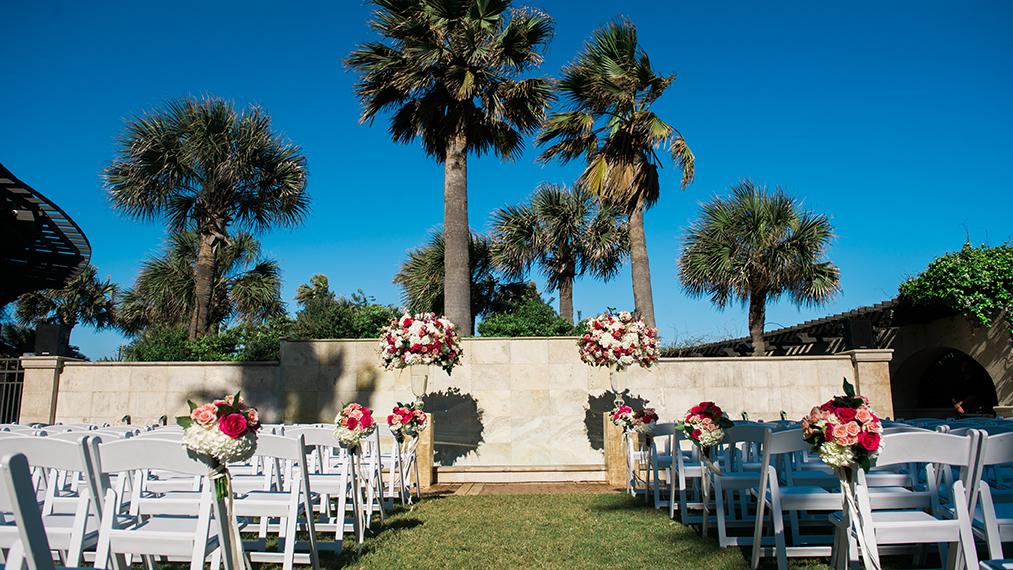 houston wedding, destination wedding, hotel galves & spa, outdoor ceremony