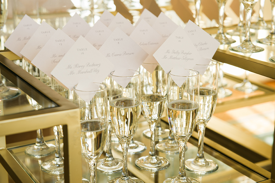 houston wedding, name cards, seating, table numbers, champagne