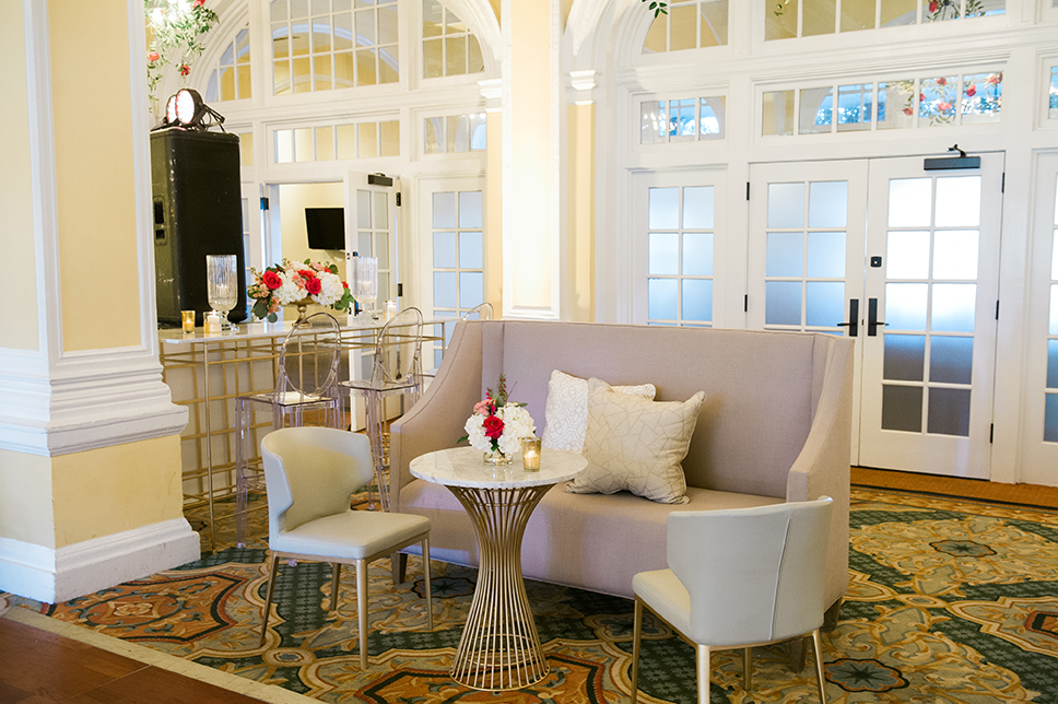 hotel wedding, guest lounge, decor inspiration