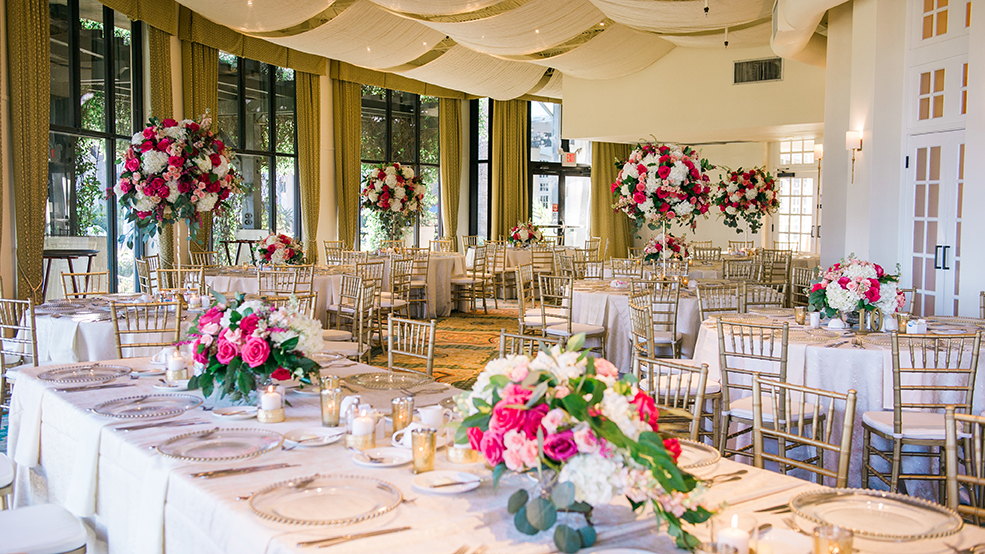 houston wedding, destination wedding, reception decor, pink, neutrals, tablescape, hotel galvez & sp