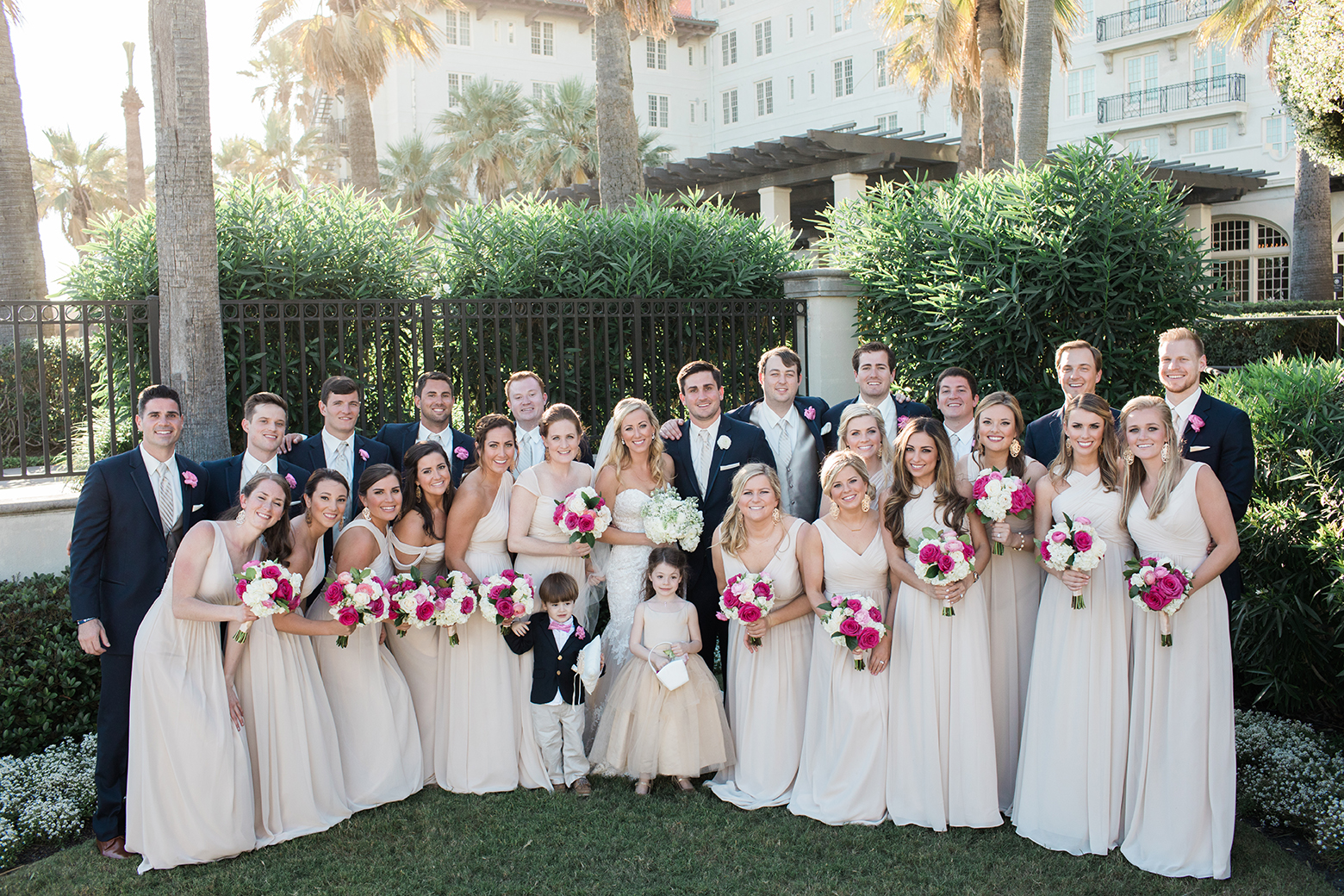 houston wedding, bridal party, bridesmaids, groomsmen, hotel galvez & spa