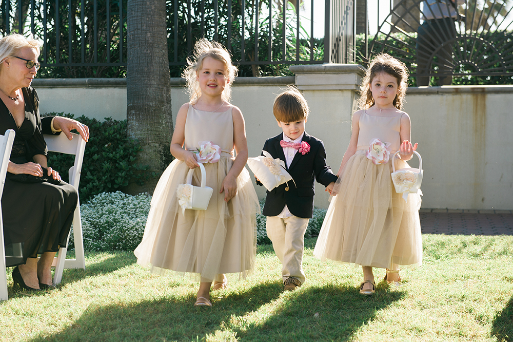 hotel wedding, outdoor ceremony, bridal party, ring bearer, flower girls