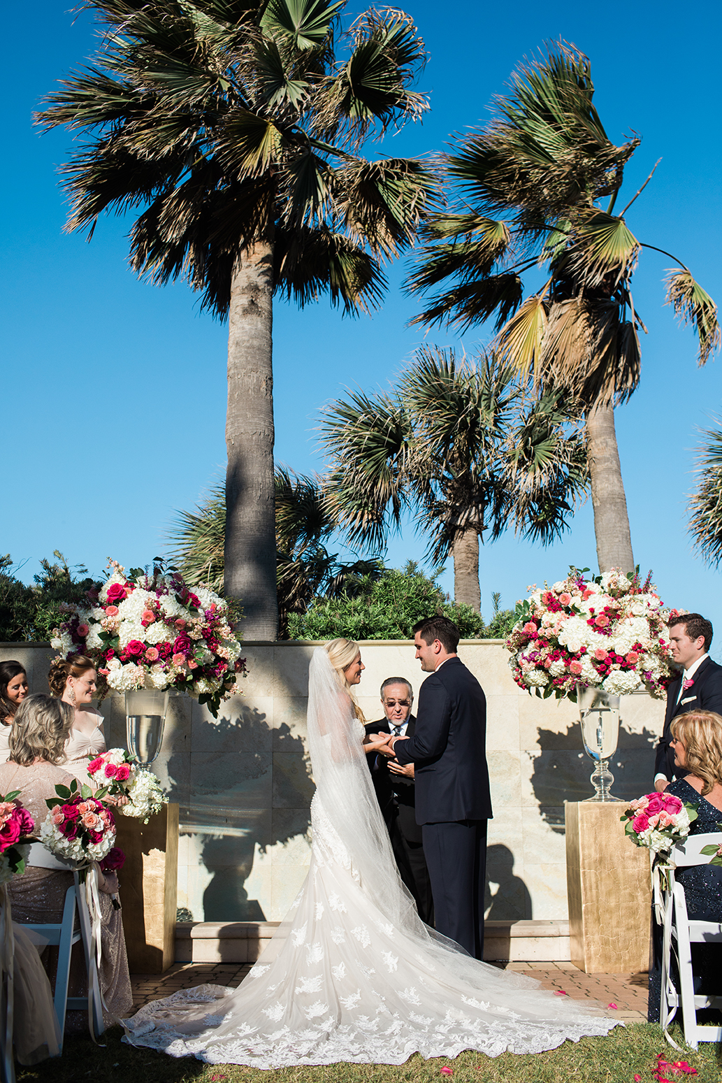outdoor ceremony, galveston, wedding, bride, groom, vows