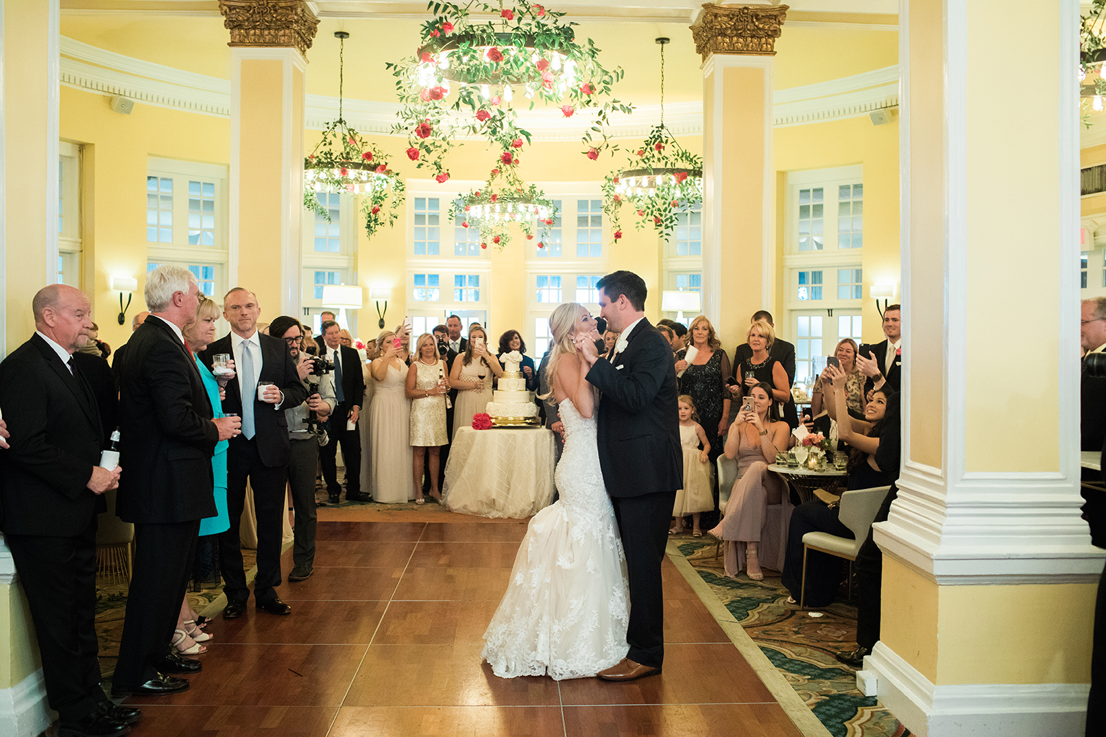 hotel wedding, first dance, bride, groom