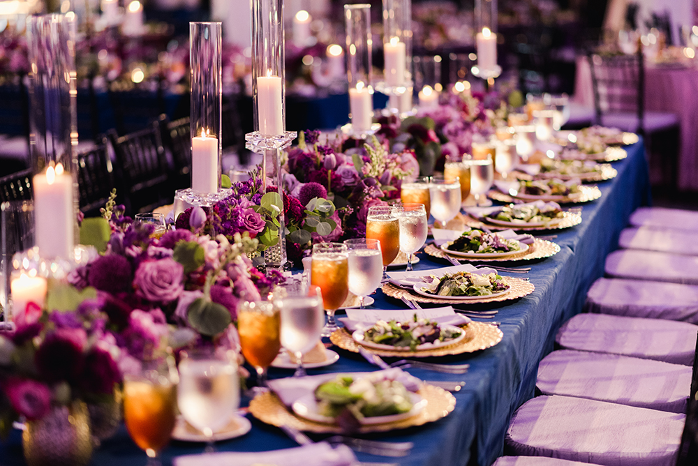 wedding reception decor - florals - purple