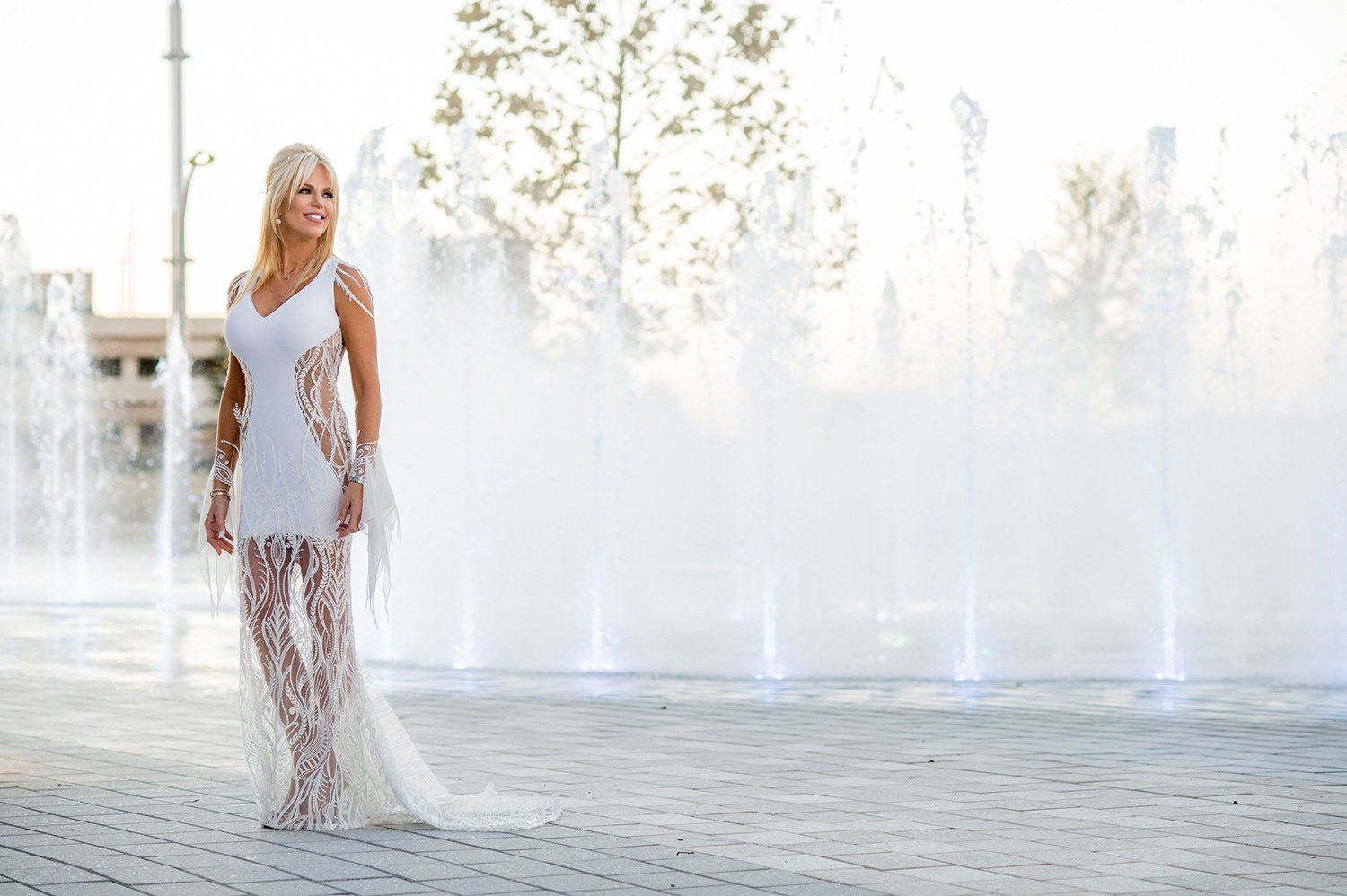 fountain backdrop - bridal portrait - custom, one of a kind wedding dress