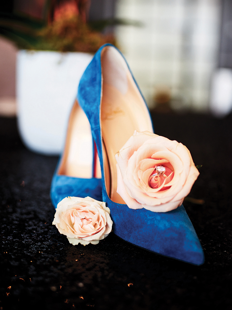 blue heels - wedding