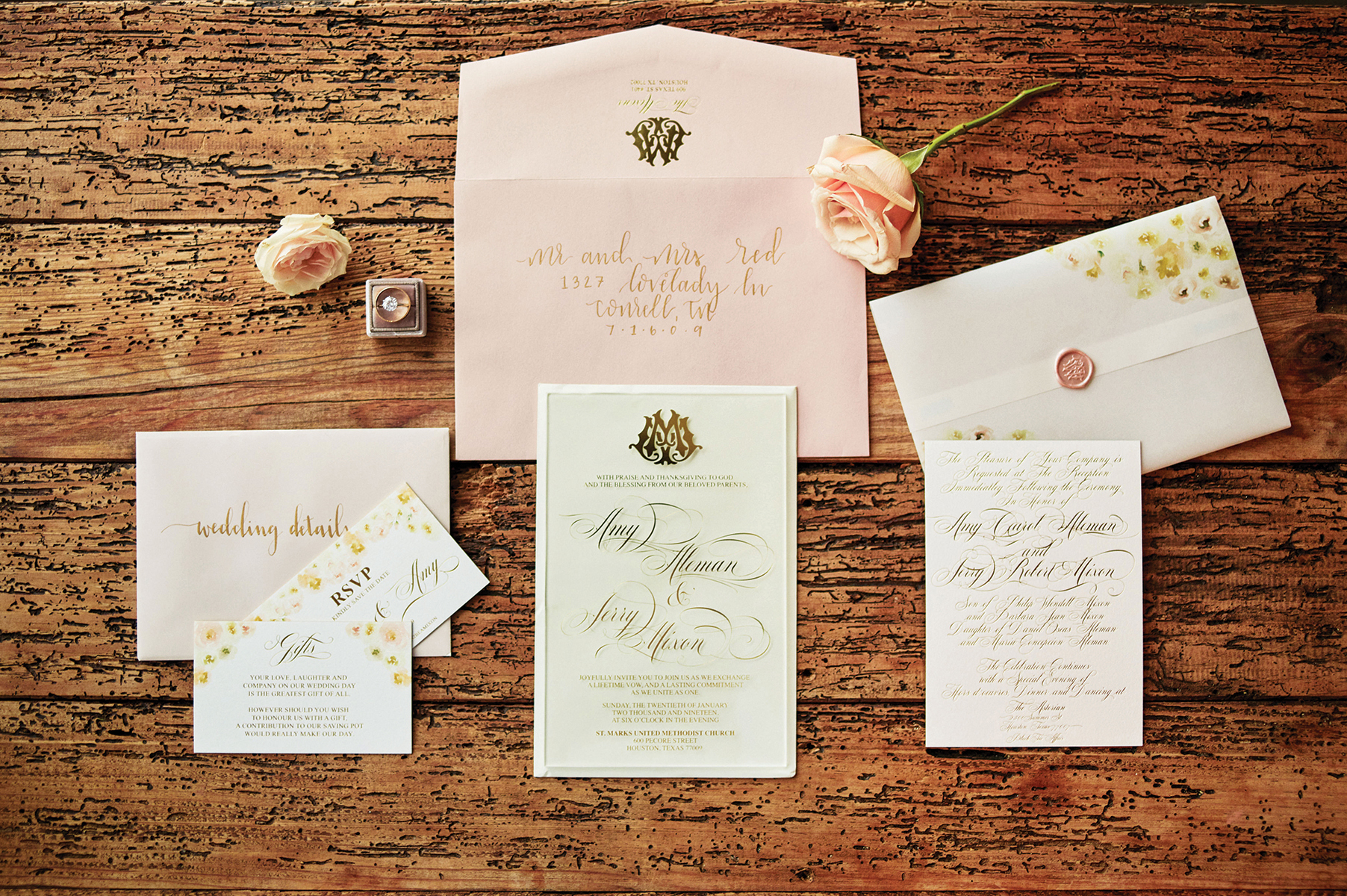 invites - wedding invitations flatlay