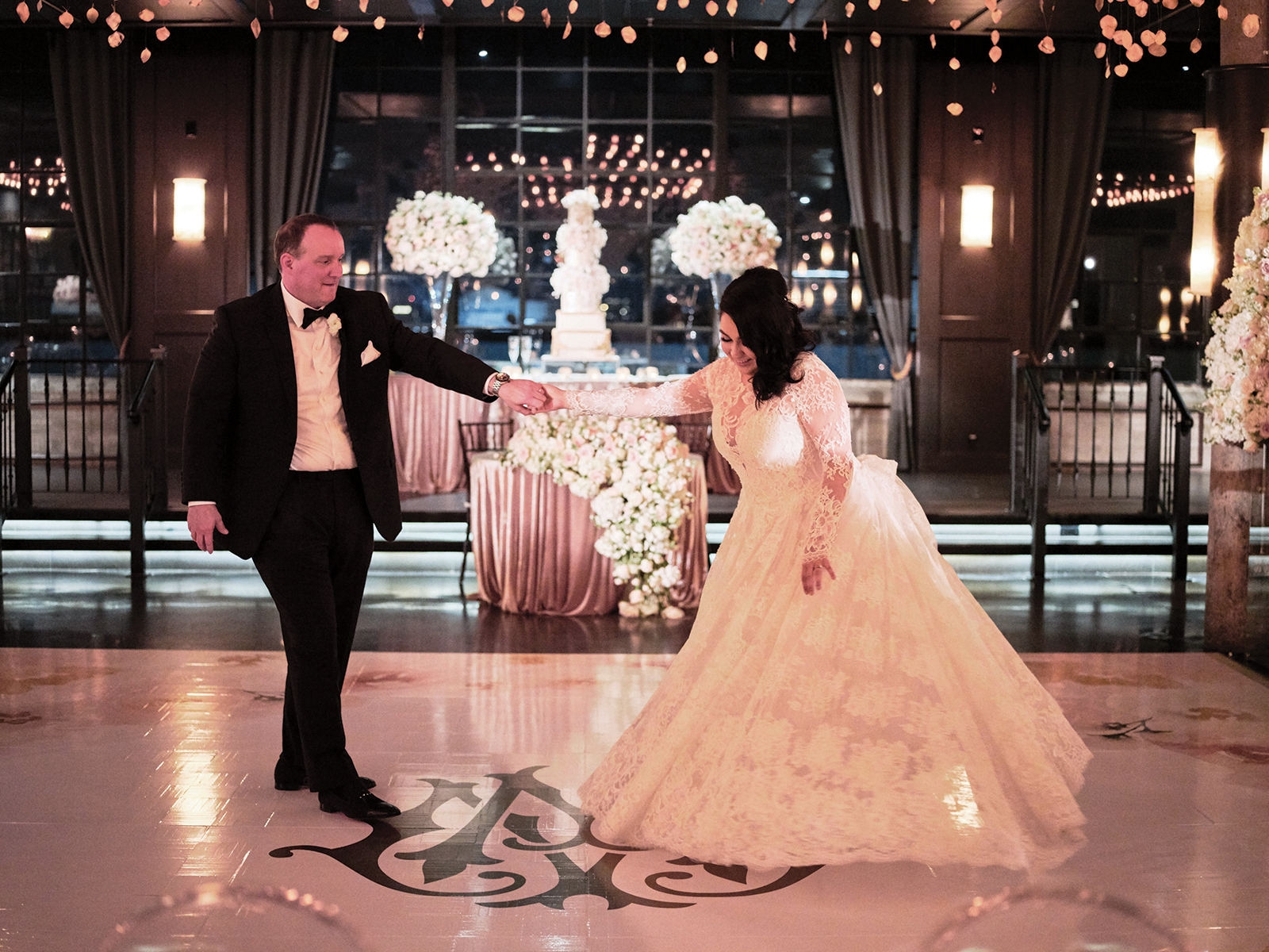 real houston bride and groom - dancing - night