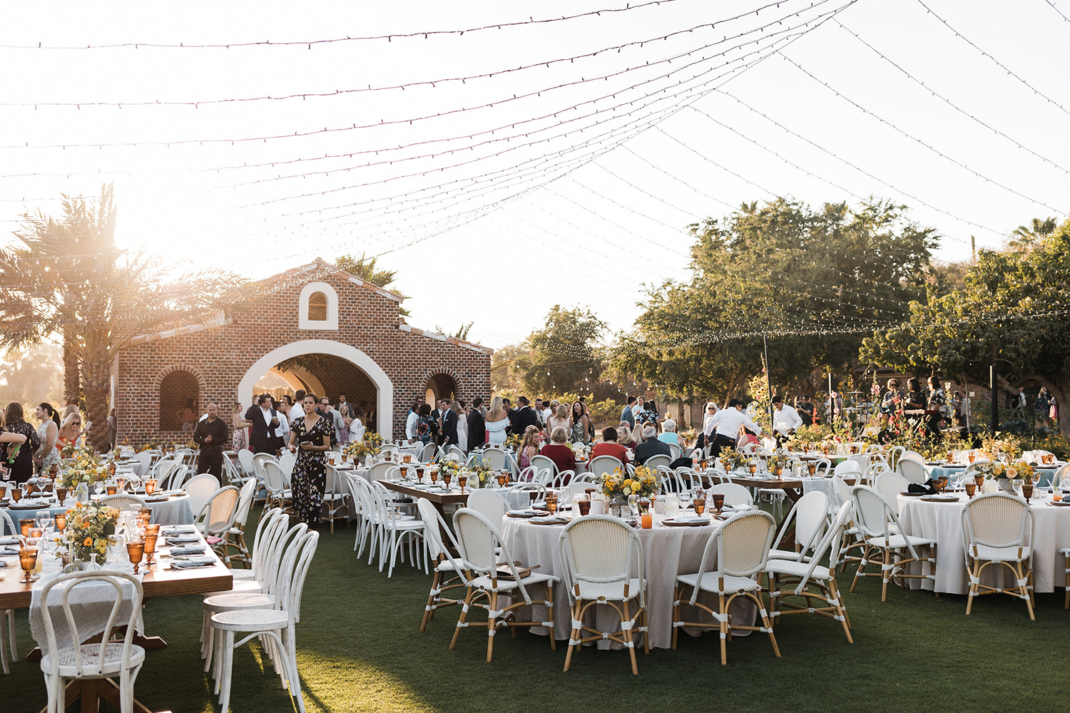 rehearsal dinner venue - outdoors - string light draping