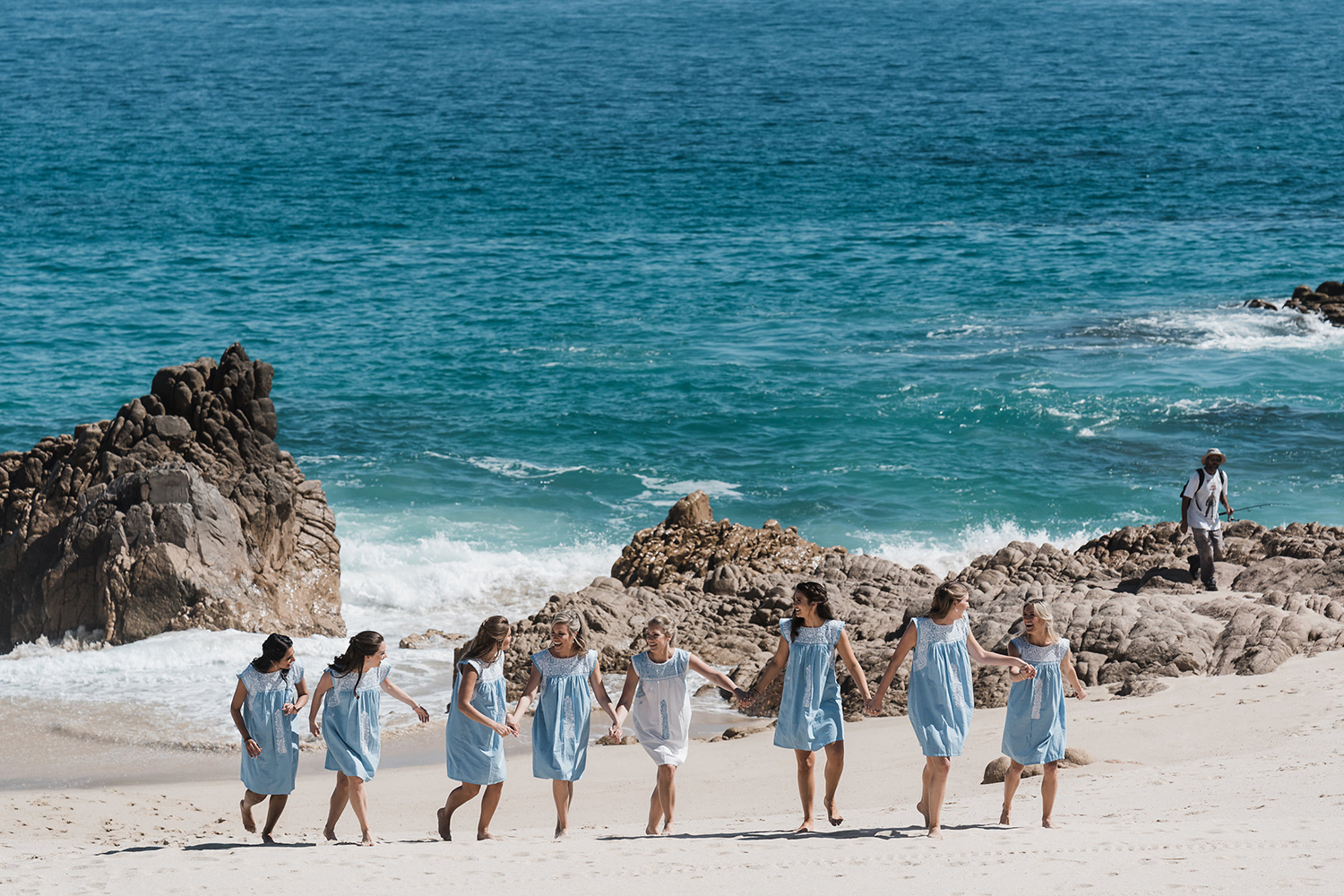 bridesmaids and bride before the wedding ceremony - beach photography