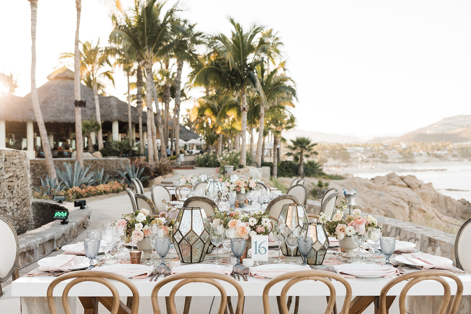 wedding reception decor - beach view
