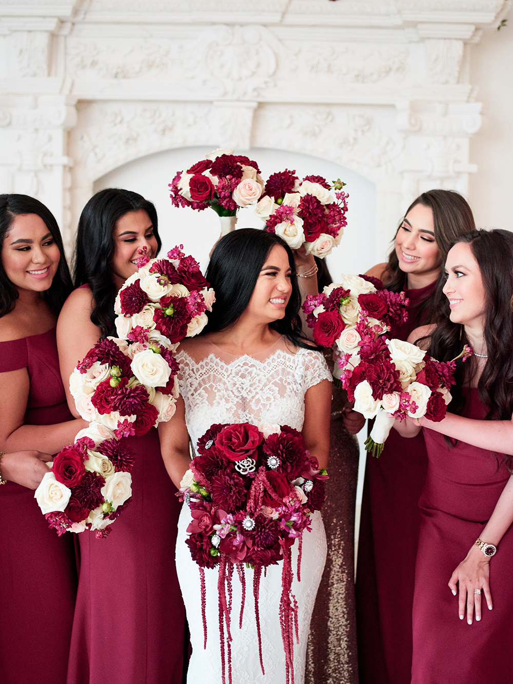 bridesmaids, bouquet, photography, plants, Burgundy, Ivory, gold, wedding