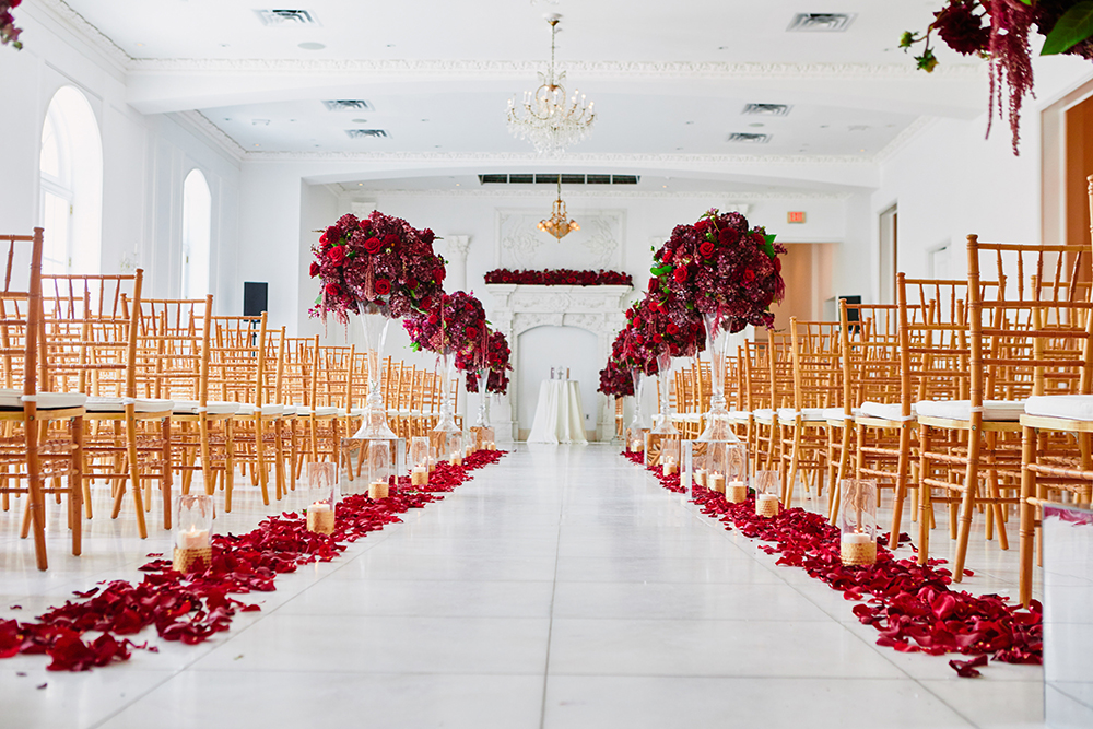 ceremony, rose, petals, Burgundy, Ivory, gold, wedding