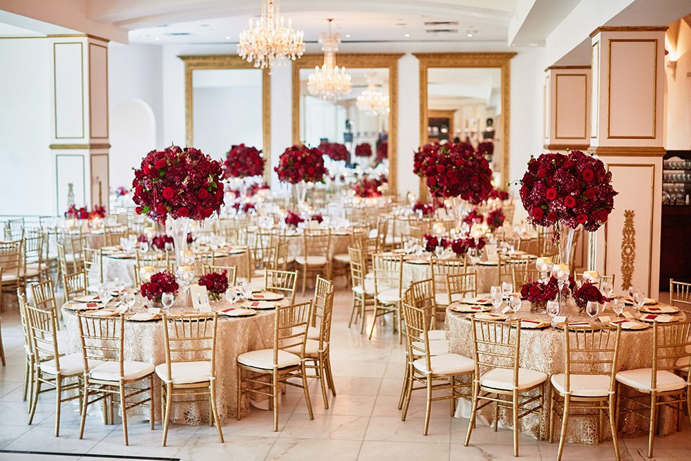 reception, decor, tables, centerpieces, Burgundy, Ivory, gold, wedding