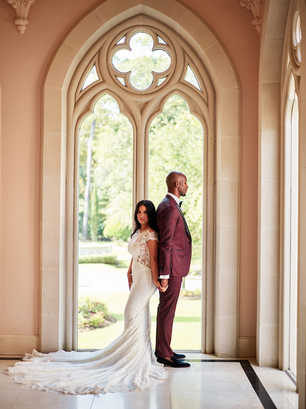couple, first look, arch, photography, houston, tx, Burgundy, Ivory, gold, wedding