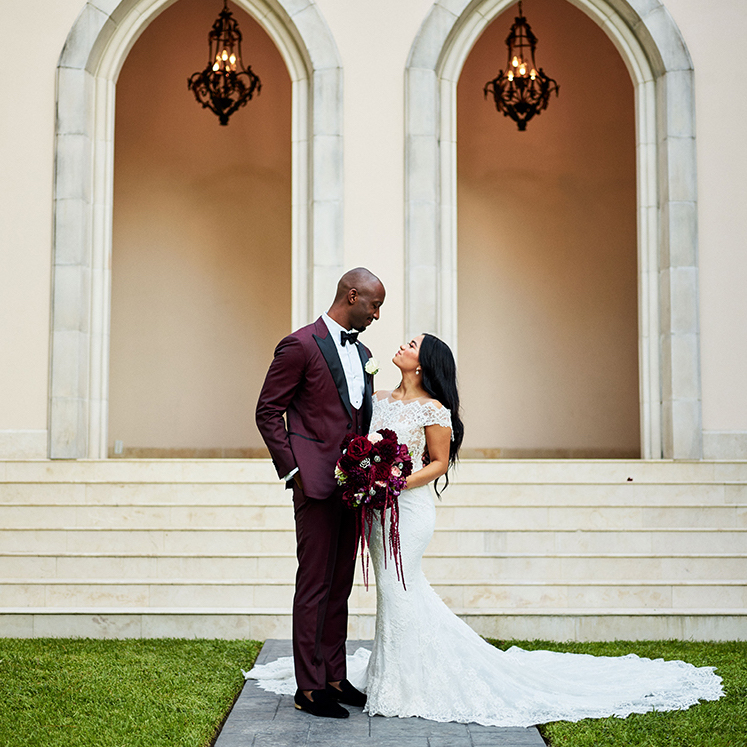 Burgundy, Ivory, gold, wedding, couple, bouquet, arch, photography