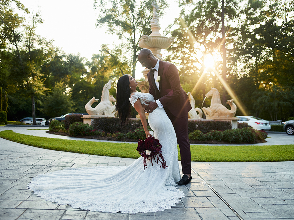 Burgundy, Ivory, gold, wedding, dance, dip, fountain, photography