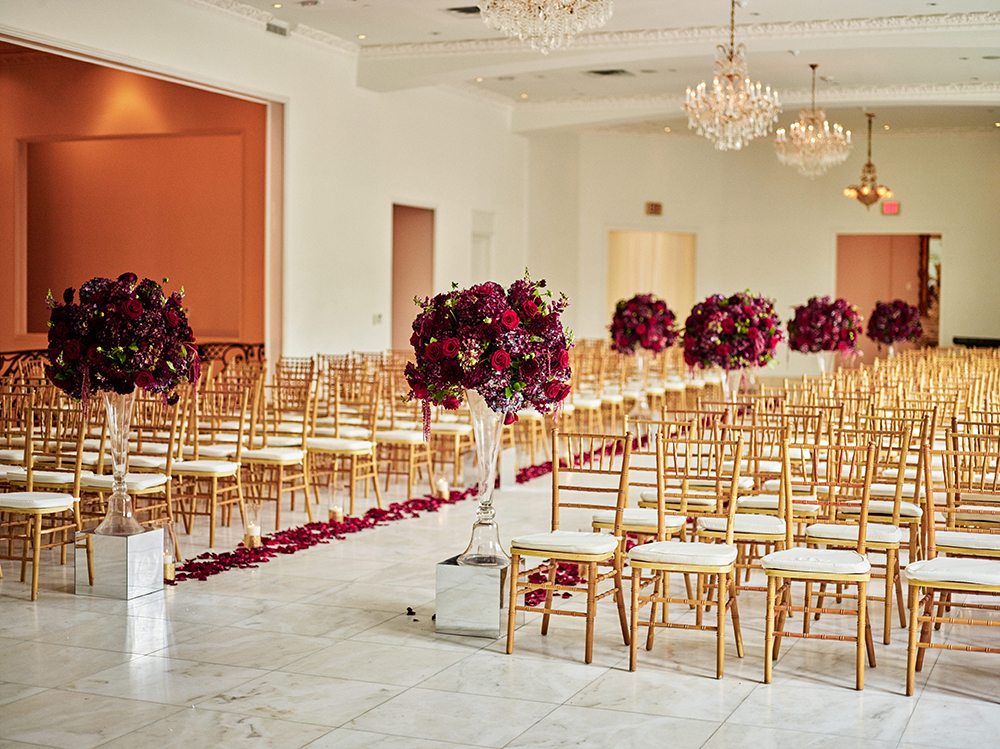 ceremony, isle, bouquet, Burgundy, Ivory, gold, wedding
