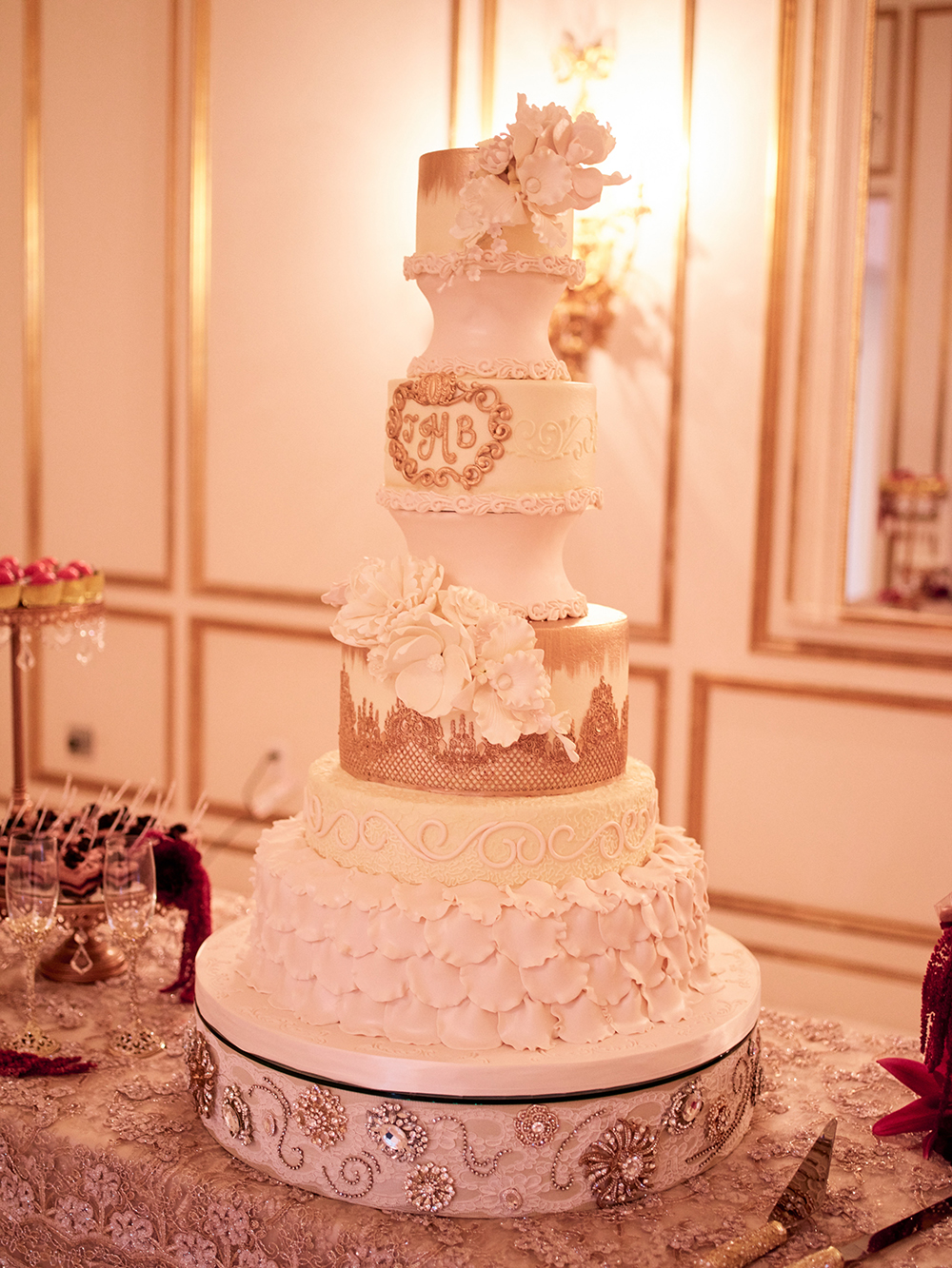 cake, cakes by gina, tower, Burgundy, Ivory, gold, wedding