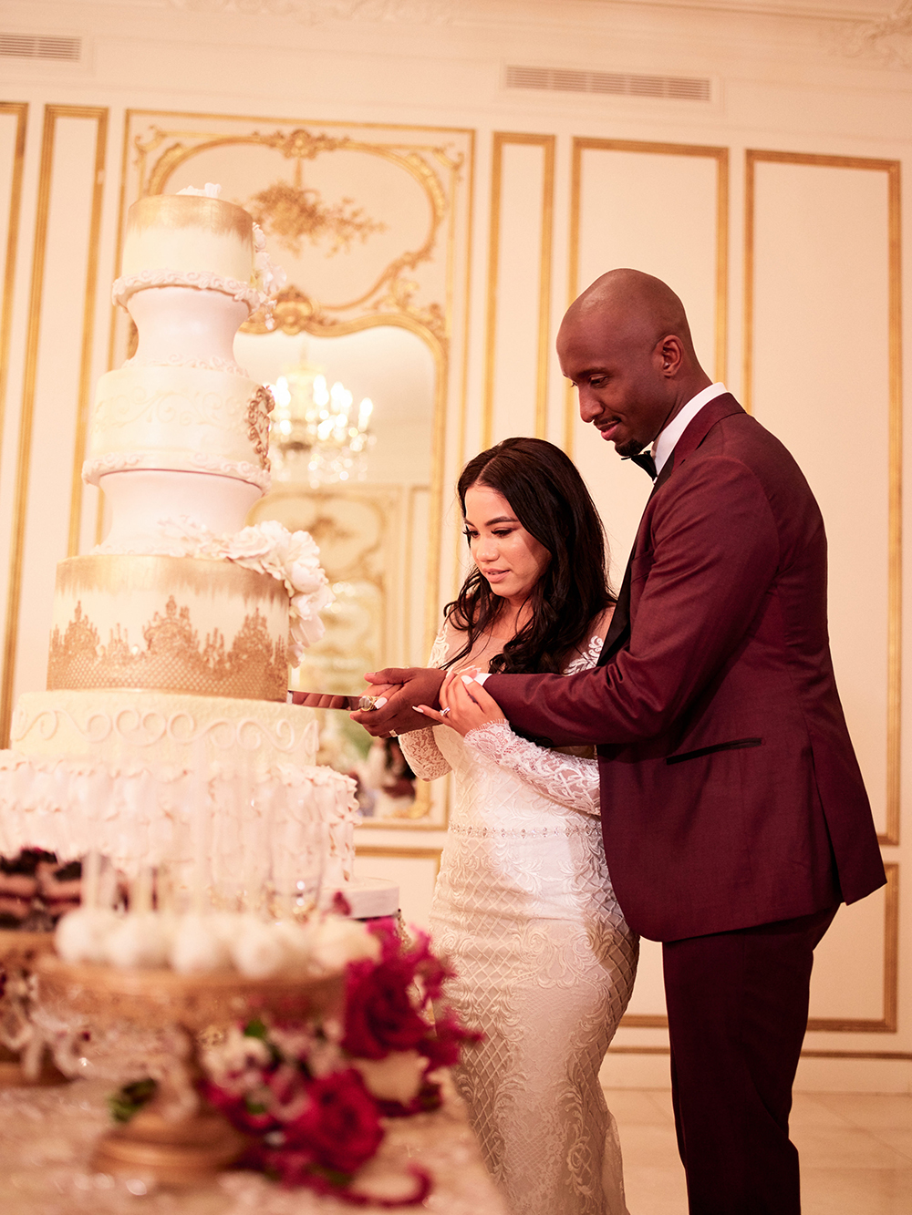 couple, cake, cake cutting, tower, reception, Burgundy, Ivory, gold, wedding
