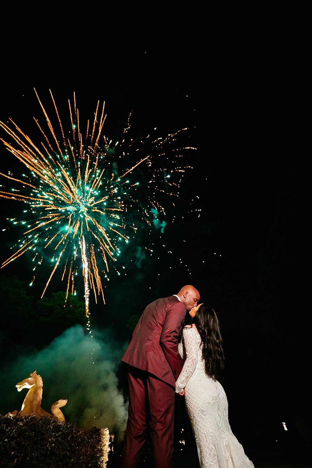 fireworks, kiss, last dance, Burgundy, Ivory, gold, wedding