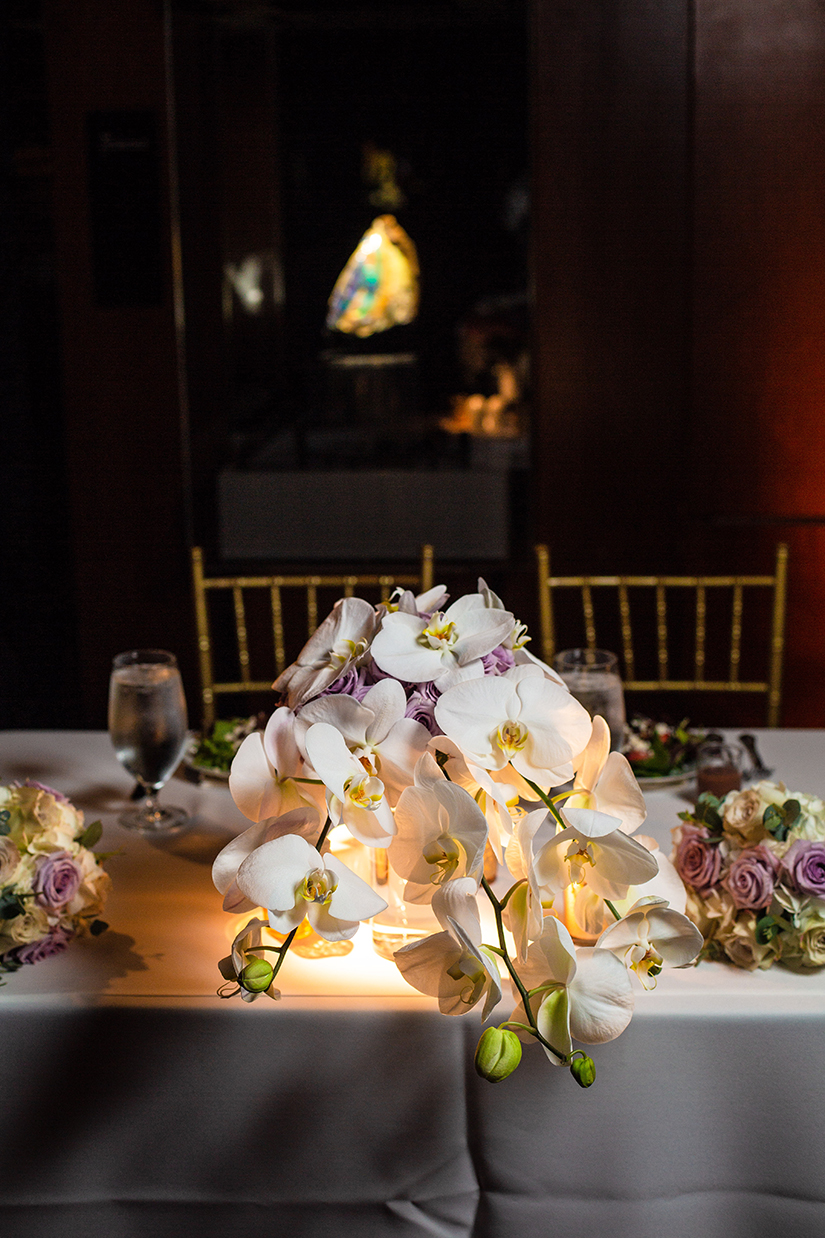 wedding reception decor - floral centerpieces - orchids
