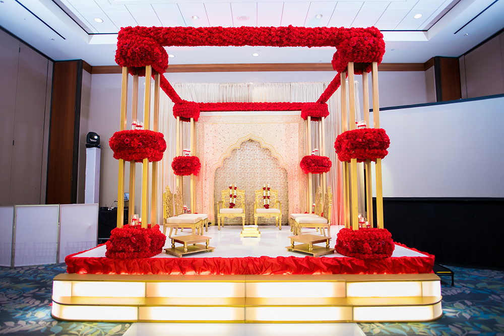 south asian, altar, gold and red, hotel ballroom, wedding venue in houston, texas