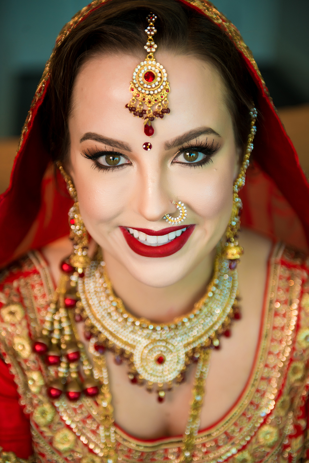 wedding hair and makeup, south asian fusion, red lips, houston wedding, bridal beauty