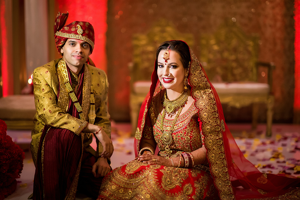 hotel wedding in houston westin memorial city south asian red gold white