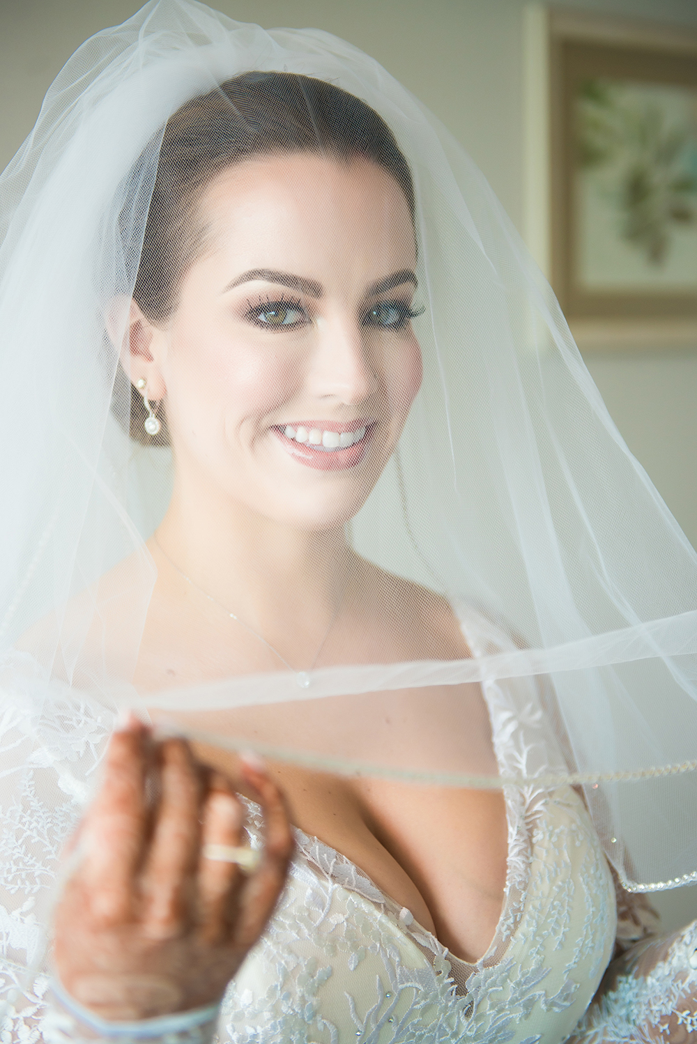 bridal portrait, bridal hair and makeup, wedding gown, veil