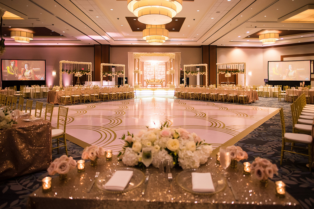 wedding reception, dance floor, vinyl, custom, hotel, decor, flowers, tablescape